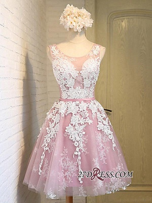 Sleeveless Jewel Pink Lace Open-Back Sash Appliques Lace-Up Sexy Homecoming Dress UKes UK_4