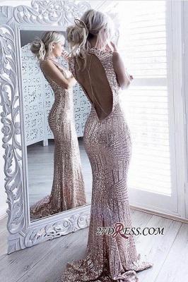 Sheath Sparkling Open-Back High-Neck Sequins Sleeveless Elegant Prom Dress UK JJ0158_2