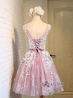 Sleeveless Jewel Pink Lace Open-Back Sash Appliques Lace-Up Sexy Homecoming Dress UKes UK_2