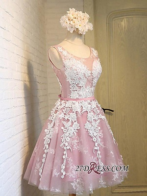 Sleeveless Jewel Pink Lace Open-Back Sash Appliques Lace-Up Sexy Homecoming Dress UKes UK_3