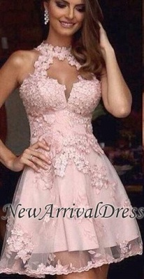 Tulle Pink Halter A-Line Appliques Short Sexy Homecoming Dress UK_2