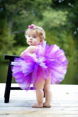 Lovely Purple White Tulle Flower Girl Dress With Ruffles_1