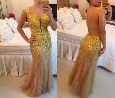 Mermaid Tulle Sheer Elegant Applqiues Beadings Sleeveless Prom Dress UK_1