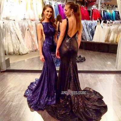 Mermaid Sleeveless Elegant Court-Train Sequined Open-Back Prom Dress UK_1