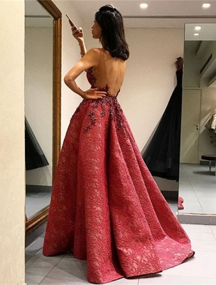 Beautiful Sleeveless Lace Appliques Evening Dress UK Long Party Gowns_3
