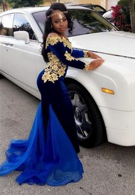 Royal blue mermaid prom Dress UK,Long sleeve evening Dress UKes UK BK0 BA8153_1