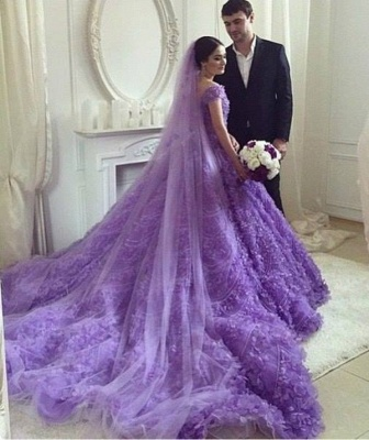 Elegant Purple Off-the-shoulder Wedding Dress Long Train Flowers BAFRW0010_3