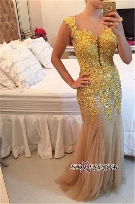 Mermaid Tulle Sheer Elegant Applqiues Beadings Sleeveless Prom Dress UK_2