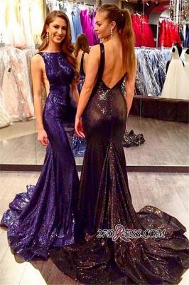 Mermaid Sleeveless Elegant Court-Train Sequined Open-Back Prom Dress UK_2