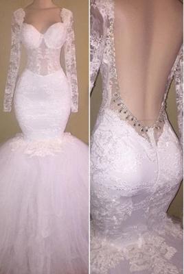 Gorgeous Long Sleeve White Lace Evening Dress UK Sweetheart Backless Long Party Dress UK BA8424_1