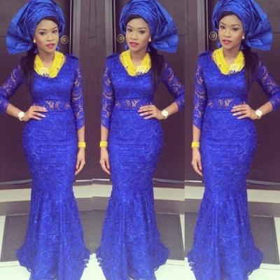 Luxury Royal Blue Lace Mermaid Evening Dress UK Long Sleeve_1