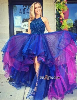 Organza Hi-Lo Beadings Luxury Sleeveless Prom Dress UK_1