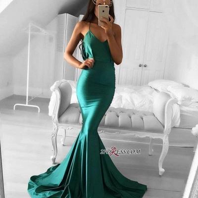 Spaghetti-strap Green Sweep-Train Modest Sleeveless Mermaid Prom Dress UK BA5380_2