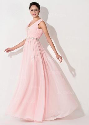 High Quality Chiffon Pink Evening Dress UK Sleeveless Beadings_2