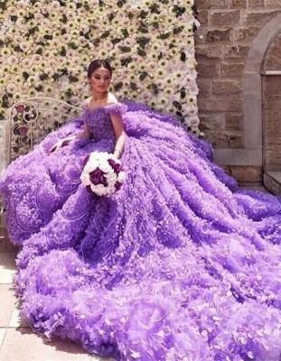 Elegant Purple Off-the-shoulder Wedding Dress Long Train Flowers BAFRW0010_6