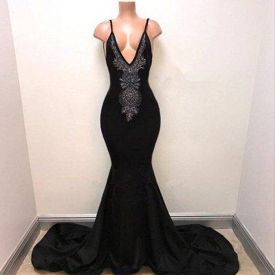 Newest Black Spaghetti Strap Sleeveless Prom Dress UK | Mermaid Prom Dress UK_3