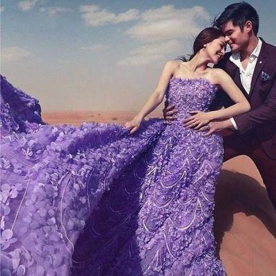 Elegant Purple Off-the-shoulder Wedding Dress Long Train Flowers BAFRW0010_5