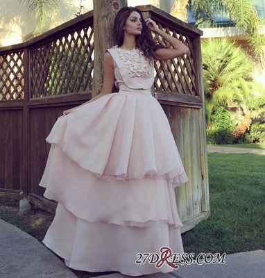 Pink Chiffon Evening Gowns   Prom Dress UK With Layers_1