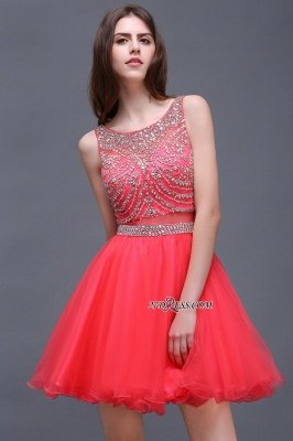 Applique Sleeveless Crystal Beads Cute A-Line Rose Short Evening Dress UKes UK_5