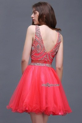 Applique Sleeveless Crystal Beads Cute A-Line Rose Short Evening Dress UKes UK_4