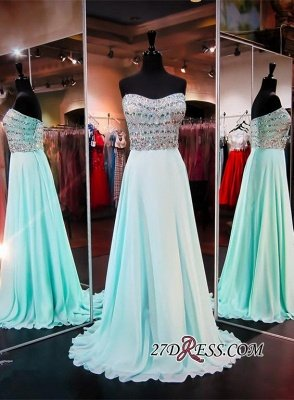 Luxury A-line Sleeveless Strapless Chiffon Crystals Evening Dress UK_2