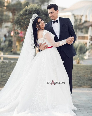 A-Line Lace Tulle White Long-Sleeves Long Wedding Dresses UK_3