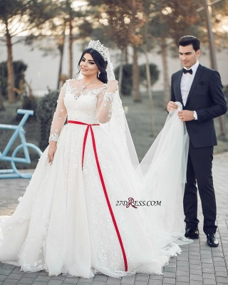 A-Line Lace Tulle White Long-Sleeves Long Wedding Dresses UK_2