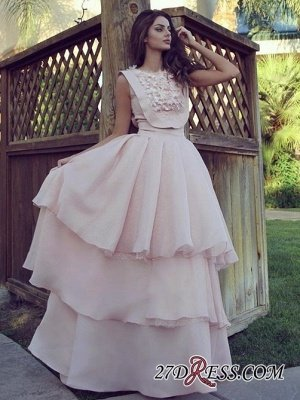 Pink Chiffon Evening Gowns   Prom Dress UK With Layers_2