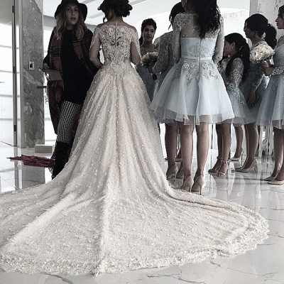 Pretty Lace Long Sleeve Princess Wedding Dresses UK Ball Gown With Appliques_6