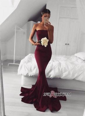 Mermaid Sleeveless Strapless Burgundy Sweep-Train Modern Prom Dress UK BA5124_2