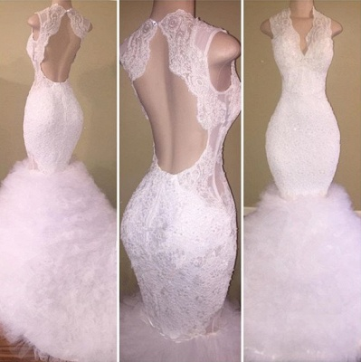 Beautiful White Lace Prom Dress UK Mermaid Tulle Long Party Gowns BA8085_3