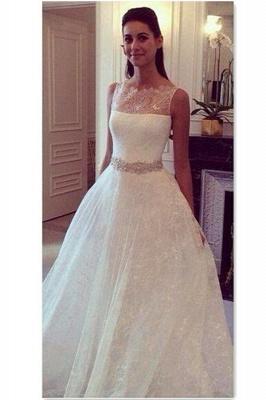 Hot Style Lace Elegant Princess Wedding Dress With Zipper Back_1