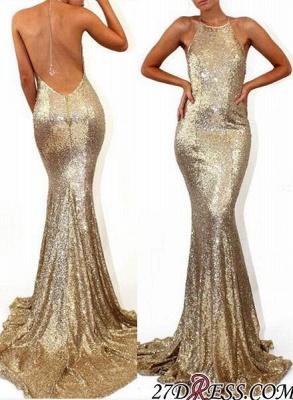 Mermaid Stunning Sequined Halter Sweep-Train Sleeveless Prom Dress UK SP0315_3