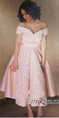 Appliques Sexy A-Line Off-the-Shoulder Pink Prom Dress UK_2