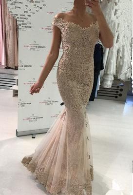 Gorgeous Off-the-Shoulder Evening Dress UK   Lace Mermaid Prom Dress UK_2