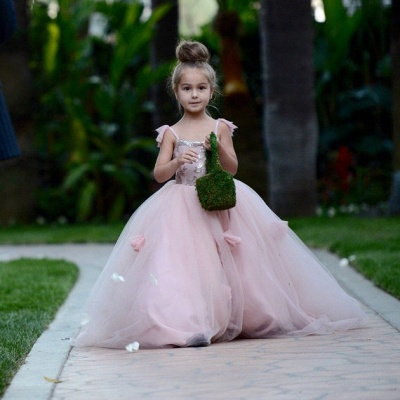 Delicate Pink Tulle Flowers Girl Pageant Dress Sweep Train_5