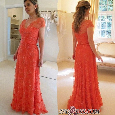 V-neck A-line Modern Short-Sleeve Flower Floor-Length Lace Evening Dress UK_1