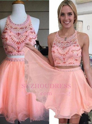 Beading Coral Two-Piece Crystals Mini Lovely Halter Organza Homecoming Dress UK_1