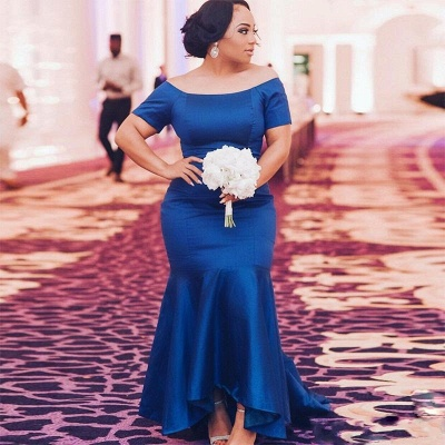 Chic Blue Plus Size Wedding Party Dresses | Cheap Mermaid Satin Bridesmaid Dresses UK_3
