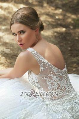 Gorgeous Lace Appliqeus Ball Gown Wedding Dress Sleeveless On Sale_2
