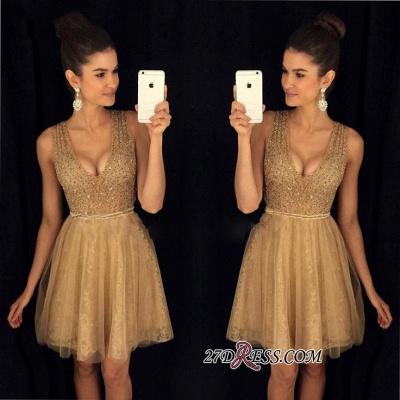 A-Line Short V-Neck Sleeveless Elegant Tulle Prom Dress UKes UK_2