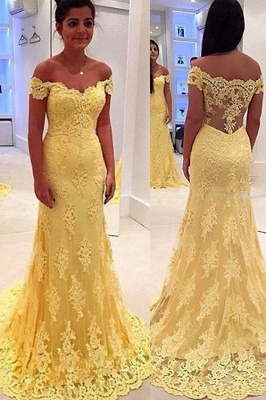 Modern Yellow Lace Appliques Evening Dress UK Mermaid Off-the-shoulder_1