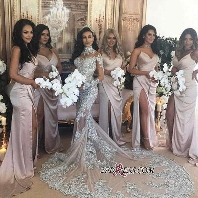 Silver Glamorous Lace Long-Sleeve Sexy Mermaid High-Neck Wedding Dresses UK BH-362_3