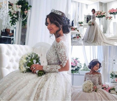 Pretty Lace Long Sleeve Princess Wedding Dresses UK Ball Gown With Appliques_4