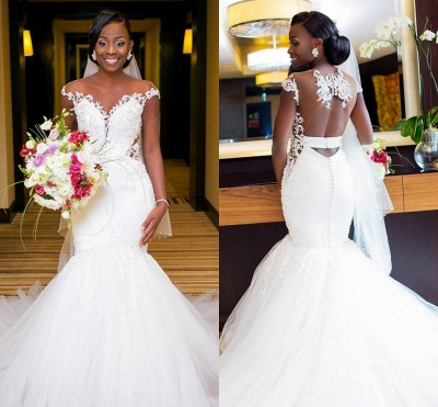Sexy Mermaid Tulle Cheap Appliques Wedding Dresses UK | Cap Sleeves Open Back Bridal Gowns with Buttons_3