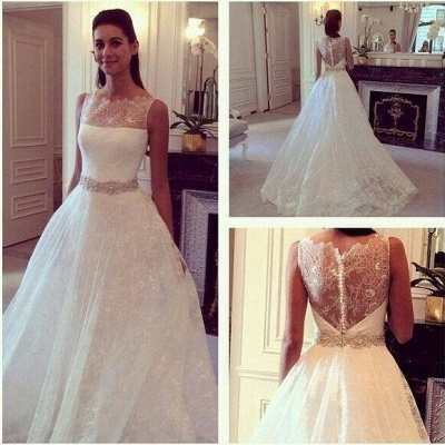 Hot Style Lace Elegant Princess Wedding Dress With Zipper Back_2