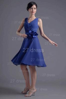 Modern Straps Chiffon Short Cocktail Dress UK Flower Zipper_3