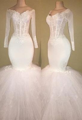 White Long-Sleeve Evening Dress UK | Lace Mermaid Prom Dress UK BA8431_1