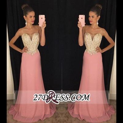 Latest Sleeveless Pink Sheath Chiffon Strapless Beadings Prom Dress UKes UK AP0_2