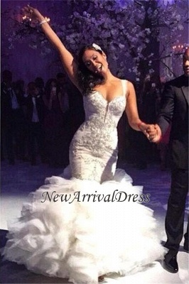 Ruffles Spaghetti-Straps Tulle Crystal Luxurious Sexy Mermaid Wedding Dress_2
